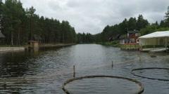 Trout farm on Saaremaa island in Estonia Stock Footage