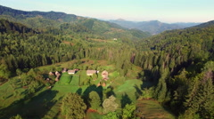 Aerial: flight in Carpathians mountains - stock footage