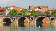 Panning to right View of Toulouse in the evening Stock Footage