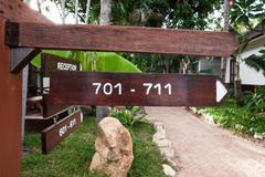 Stock Photo of signboard on the beach at hotel, Koh Samui, Thailand