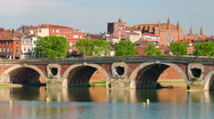 Zoom out timelapse of Toulouse in a summer evening Stock Footage