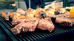 Pieces of meat grilled barbecue Stock Footage