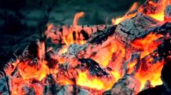 Coal fire closeup Stock Footage