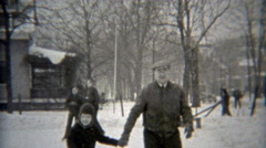 1938: Grandpa showing off ice skating skills on local makeshift rink. Stock Footage