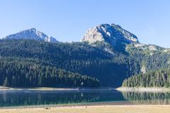 Beautiful mystical Black Lake, Durmitor National Park. Montenegro - stock photo