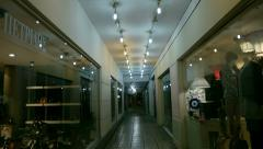 Passage through a commercial gallery Stock Footage