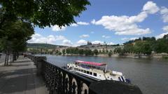 Vltava River seen from Dvorak's waterfront in Prague Stock Footage
