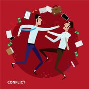 Conflict of two businessmen - stock illustration