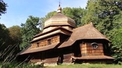Old wooden Orthodox church in Ulucz, Poland Stock Footage