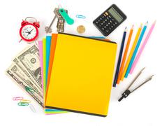 Copybooks with divider and office stuff - stock photo