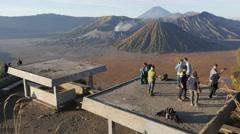 Stock Video Footage of Tourists watching Bromo volcano,Bromo,Java,Indonesia