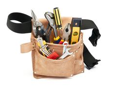 tools in tool belt - stock photo