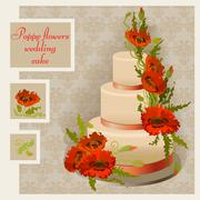Wedding cake design with red and orange poppy flower and leaves Stock Illustration