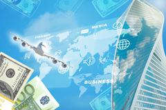 Business building with money Stock Illustration