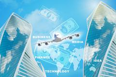 Business building with cash Stock Illustration