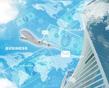 Business building with dollars - stock illustration