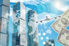 Business building with world map and money - stock illustration