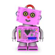 Toy robot girl smiling into the camera - stock illustration