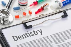Dentistry written on a clipboard Stock Photos