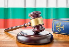 A gavel and a law book - Bulgaria - stock photo