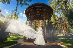 Bride with flowing veil near arbor in park Stock Photos