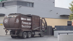 Garbage Truck In Action Stock Footage