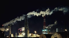 Industrial smoke from the chimneys night Stock Footage