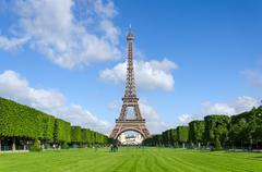 Eiffel Tower with blue sky in Paris - stock photo