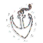 people  shape  anchor cartoon - stock illustration
