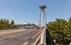 Stock Photo of BRATISLAVA, SLOVAKIA - JULY 22: New bridge, Bratislava, Slovakia, July 21, 20
