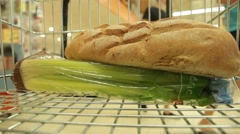 Rolling Cart with products in supermarkets Stock Footage