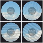 Set of 4 music album cover templates. Blue cloudy sky. Abstract multicolored - stock illustration
