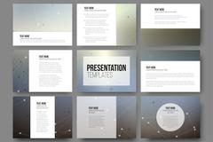 Set of 9 templates for presentation slides. Molecule structure, gray science Stock Illustration