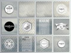 Set of 12 creative cards, square brochure template design. Gray cloudy sky Stock Illustration