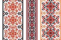 Ukrainian folk art. Set of traditional embroidery patterns. Abstract vector Stock Illustration
