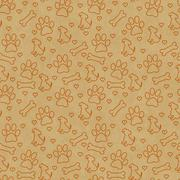 Orange Doggy Tile Pattern Repeat Background - stock illustration