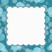 Stock Illustration of Teal Polka Dot Frame Background