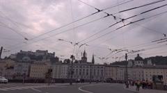 Stock Video Footage of 4k Salzburg city center big crossing traffic Austria