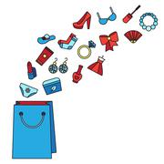 Stock Illustration of Woman things, accessories, cosmetics, clothes