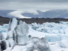 Glacial lake on the edge of Vatnajokull National Park. at the head of the - stock photo