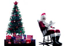 santa claus digital Tablets silhouette isolated - stock photo