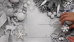 Christmas a Background in Silver and White Stock Footage