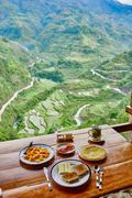 Breakfast  rice paddy terrace fields Philippines - stock photo