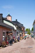 Medieval town Porvoo in Finland . Wooden houses on cobblestone streets - stock photo
