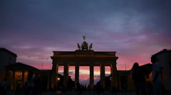Berlin - Brandenburger Gate - Time Lapse Stock Footage