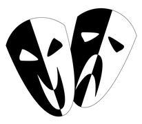 Black and White Stage Masks Stock Illustration