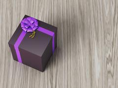 Dark brown gift box with purple ribbon bow Stock Illustration