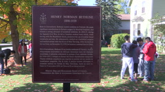 Dr. Norman Bethune house historic site in Muskoka Canada Stock Footage