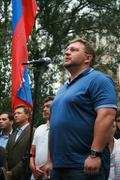 The leader of the party Union of Right Forces Nikita Belykh at the rally of Stock Photos