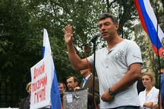 Politician Boris Nemtsov at the rally of Russian democratic opposition on the - stock photo